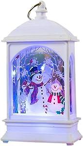 Zcuhen Portable Light Lighted Santa Claus and Sleigh Christmas Water Snow Glitter Globe Lantern Decor, Battery Snow Globe for Kids, Snowman Water Glitter Globe Lantern,Decorations Light Ornaments