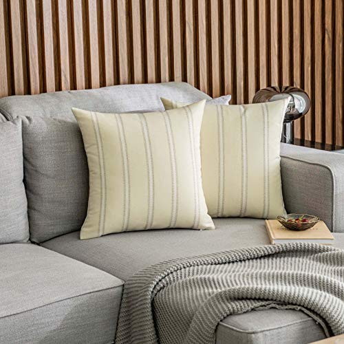 Home Brilliant Decorative Throw Pillow Covers Transitional Home Decor Striped Modern Farmhouse Pillowcases for Indoor Outdoor, Set of 2, 18 x 18 inches(45x45cm), Cream
