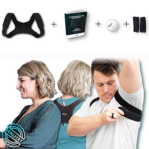 Atlamon Premium Rücken Geradehalter Komplettpaket inklusive Zubehör für Anti einschneiden unter den Armen, verstellbar, Damen und Herren