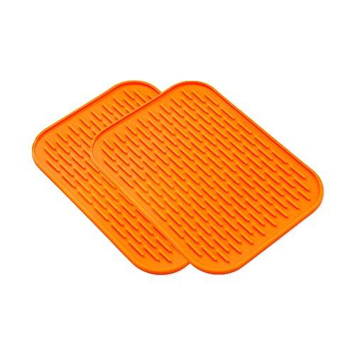 Lot de 2 support de pot de silicone Tapis Dessous de Verre Rectangulaire résistant à la chaleur en silicone Dessous de Plat