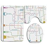 Análisis de pruebas farmacológicas Vasos de precipitados con solución y tubos Diseño gráfico Juego de alfombras de baño de 3 piezas Alfombrilla de baño antideslizante Alfombra de contorno Tapa de la t