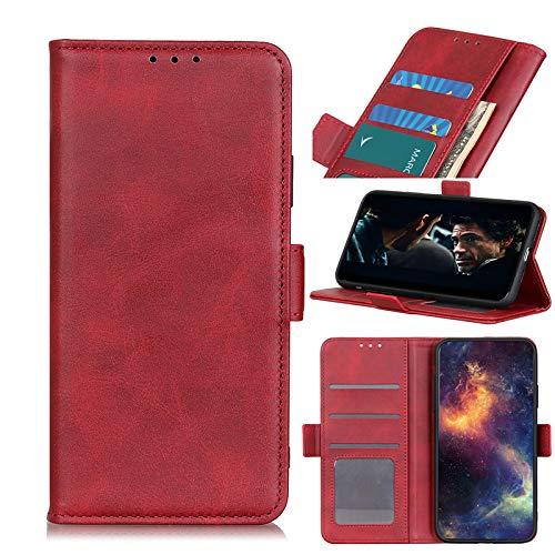 NEINEI Funda para Xiaomi Redmi Note 10S/Redmi Note 10 4G,Libro Cuero Carcasa con [Ranuras y Tarjetas][Cierre Magnetico][Soporte],Textura de Piel de Vaca,PU/TPU Flip Movil Cover Case,Rojo