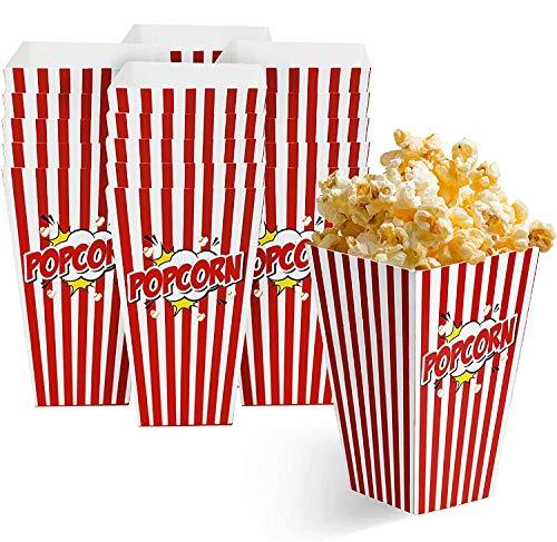 50 Bolsas Palomitas 18x10cm| Cajas de Palomitas, Popcorn Boxes - Cartones de Palomitas Retro| Cumpleaños, Película, Cine, Carnaval, Bodas, Bolsos de Fiesta Caramelos, Chuches, Decoracion.