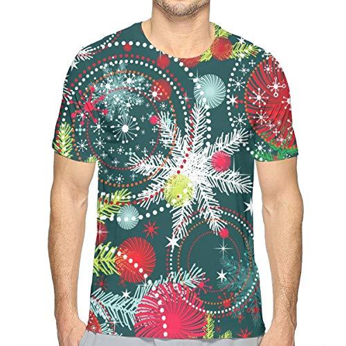 Camiseta de algodón de Nieve y árbol de Navidad de Manga C