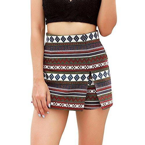 Longra Verano y otoño Mujeres Boho impresión Beach Ladies Summer Pantalones Pantalones Pantalones Cortos Falda