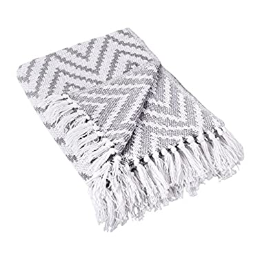 DII 100% Cotton Chevron Herringbone Throw for Indoor/Outdoor Use Camping BBQ's Beaches Everyday Blanket - 50 x 60, Large Chevron Gray