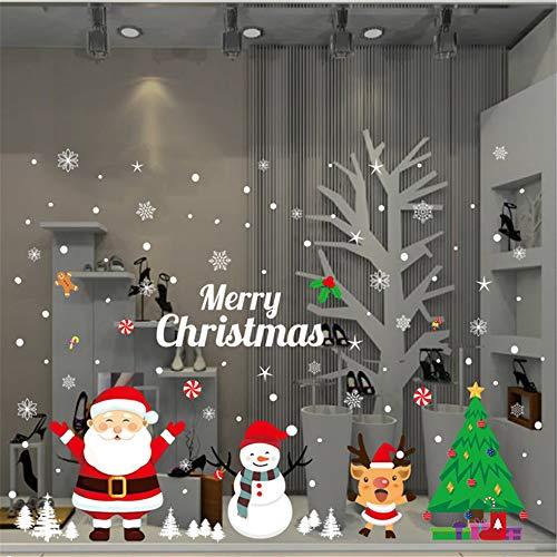 WARMWORD Pegatinas de Ventana de Navidad DIY Lindo Vistoso Santa Claus Alce...