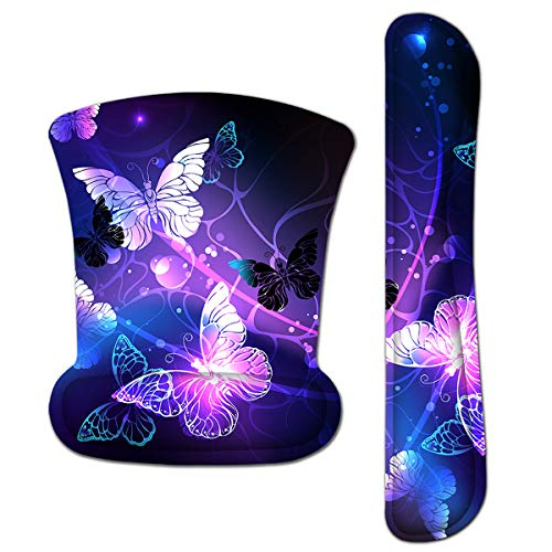 Keyboard Wrist Rest Pad Ergonomic Mouse Pad Set, ToLuLu Gel Mouse Pad for Computer Laptop, Non Slip Mousepad Keyboard Wrist Support Raised Memory Foam for Easy Typing Pain Relief, Art Butterflies