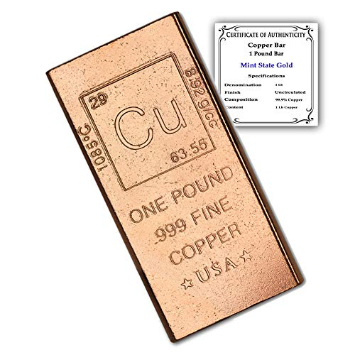 1 Pound Copper Bar Bullion Paperweight with Element Design (1 lb) with Certificate of Authenticity by CoinFolio