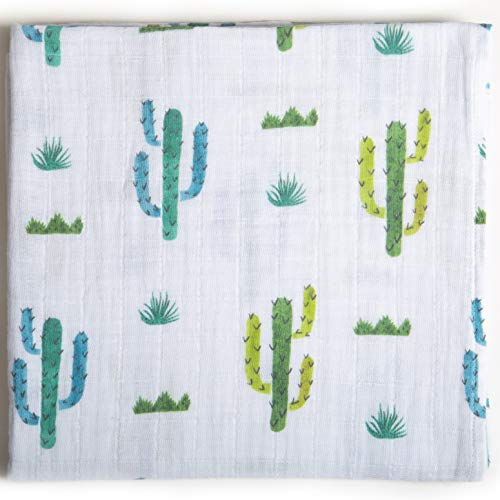 Ella Bonna Swaddle Blankets, All in One Nursing and Stroller Cover, Pram Sunshade, Burp Cloth, Towel, Breathable Pure Cotton, 47 x 47, for Baby Boys Girls Toddlers (120x120, Cactus)