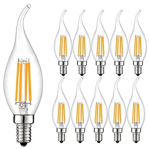 Lot de 10 4W E14 Ampoule de Filament LED Flamme Bougie 2700K Blanche Chaude Equivalent Ampoules Incandescente Halogène 30W Non-Dimmable