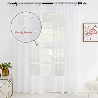 WestWeir White Pearl Sheer Curtains - Rod Pocket (Set of 2) 52 x 84 inches for Bedroom,Girl's Room