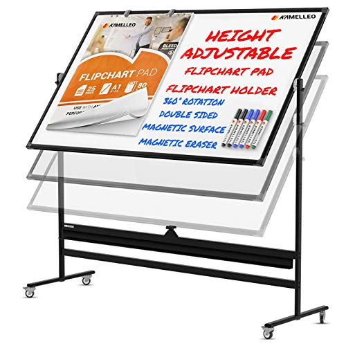 Mobile Whiteboard - 70x36 Large Height Adjust 360° Rolling Double Sided Dry Erase Board, Magnetic White Board on Wheels, Office Classroom Portable Easel with Stand, Flip Chart Holders and Pad | Black