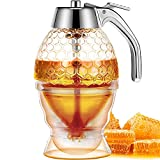 AOZBZ Honey Dispenser with Stand Honey Container, Plastic Syrup Honey Dispenser, 8 Oz Honey Pot with Stand, No Drip Honey Jar, Honey Container