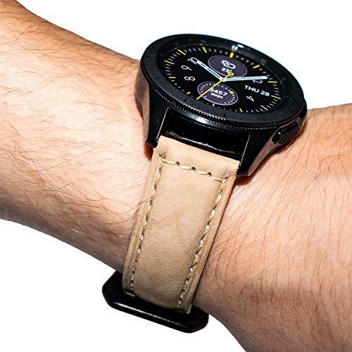 Pulseira de Couro BK para Samsung Galaxy Watch Active 40mm e 44mm - Gear S2 Classic - Gear Sport R600 - Galaxy Watch 42mm - Amazfit Bip - Amazfit Gtr 42mm - Marca Ltimports (Caqui)