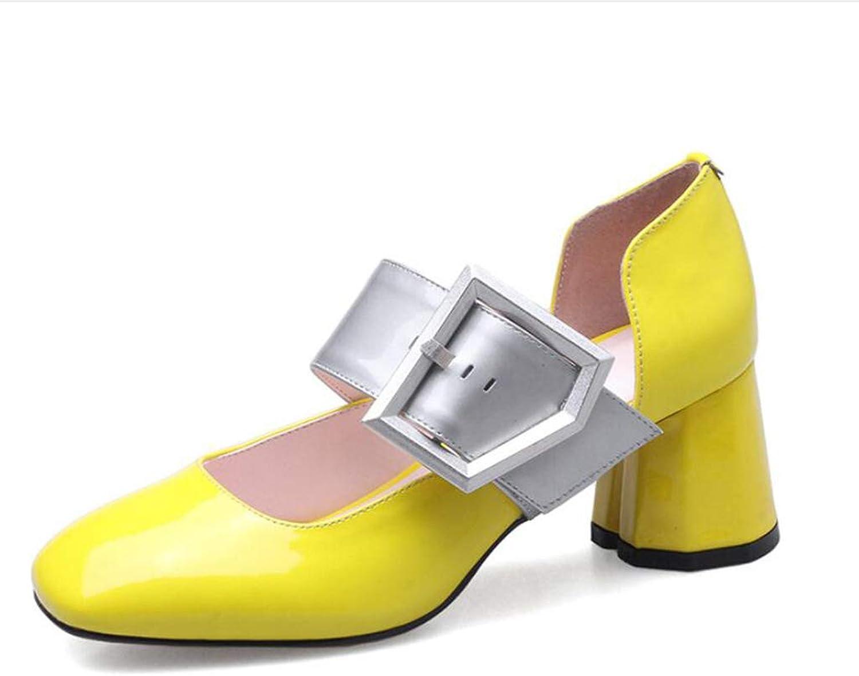 Sandalen, Kuh-Lackleder Persnlichkeit quadratisch Kopf bequem dick mit eleganter Schnalle mit einzelnen Schuhen Frau,Gelb,38