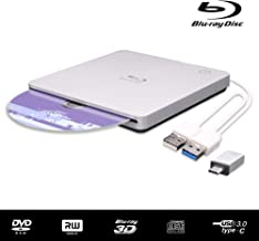 External Blu Ray DVD Drive 3D, Ultra-Slim USB 3.0 and Type-C Slot-in Optical Portable BD CD DVD RW ROM Drive Writer Player Reader Burner for MacBook, Laptop, Desktop