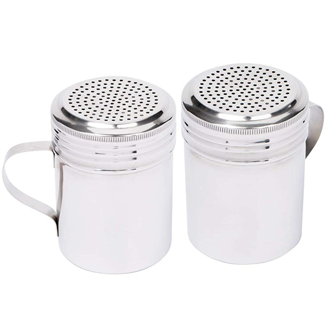 (Set of 2) 10-Ounce Stainless Steel Dredge Shaker with Handle by Tezzorio, Commercial Grade Spice Dredge Shaker for Restaurants Baking / Cooking