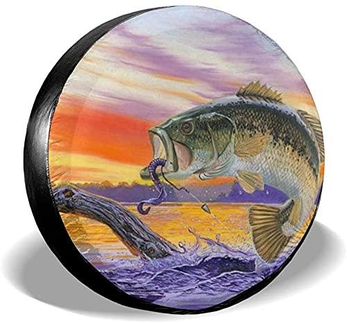 Bass Fish - Cubierta para llanta de repuesto,poliéster,universal,de 16 pulgadas,para rueda de repuesto,para remolques,vehículos recreativos,SUV,ruedas de camiones,camiones,autocaravanas,accesorios pa