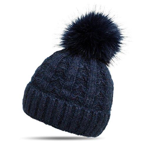 Caspar MU144 Damen warme Winter Strick Mütze mit Fellbommel, Farbe:dunkelblau, Größe:One Size