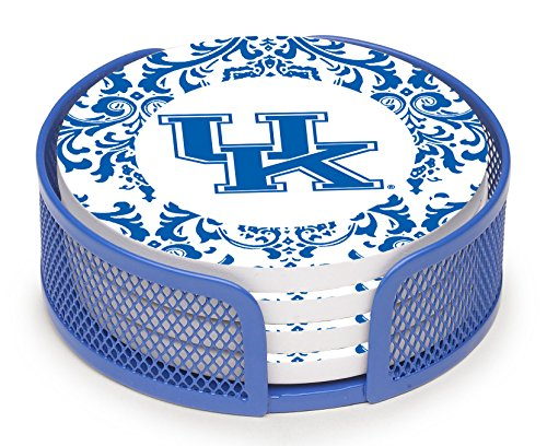 Thirstystone Stoneware Drink Coaster Set with Holder, University of Kentucky Pattern