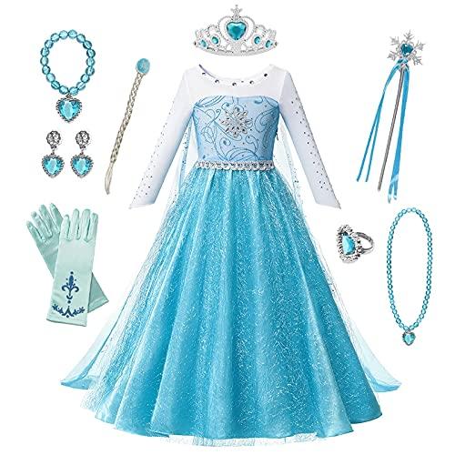 OPYTR Bottles for Lotion Vestido de niñas Princesa Cumpleaños Cosplay Malla de Malla Vestidos de Cristal Halloween Vestido de Navidad Disfraz Chal ( Color : Elsa Dress 5 , Size : 3T )