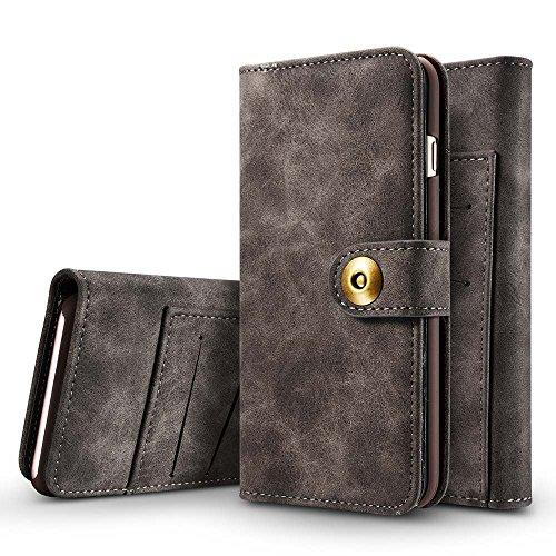 Galaxy S7 Hülle, Dfly [2 in 1] [Abnehmbare Wallet Folio] [Retro Premium PU Leder aus Äußerem und offenem Haar Echtes Leder von Innerem] Handyhülle für Samsung Galaxy S7, Dunkelgrau