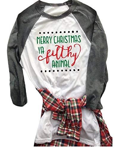 DressUWomen Puntadas De Manga Larga Cuello Redondo De Raglán Floral Navidad Camiseta Para Mujeres EE.UU XS=China Pequeño Pauta1