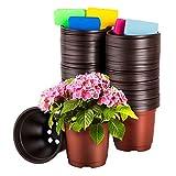 CNNIK 100 Unids Macetas de Plástico de 10 cm para as Plantas o Flores Contenedor de Semillas con 100 Etiquetas, Macetas de Plástico para Plantas, Flores y Jardinería