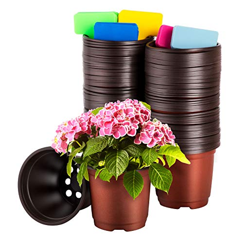 CNNIK 100 Pcs 10cm Plastique Plante Pots de Fleurs Pot de Semis Pépinières Fleur Plante Conteneur Plateau de Semences Pépinière Pépinière Pots et 100 Pcs Plantes Tags