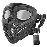 WISEONUS Máscara de Airsoft Tactical Mask BBs Equipo de protección Máscara de cara completa para Halloween Caza Paintball CS Wargame (negro)