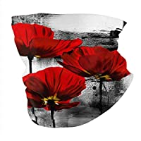 フェイスマスク リストバンド アウトドア スポーツターバン 多機能チューブ型 ダンス 自転車 ハイキング ジョギングのため 男性用 女性用-Beautiful Red Poppy Flower Art