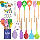 Umite Chef Kitchen Cooking Utensils Set, 24 pcs Non-stick Silicone Cooking Kitchen Utensils Spatula Set with Holder, Wooden Handle Heat Resistant Silicone Kitchen Gadgets Utensil Set (Colorful)