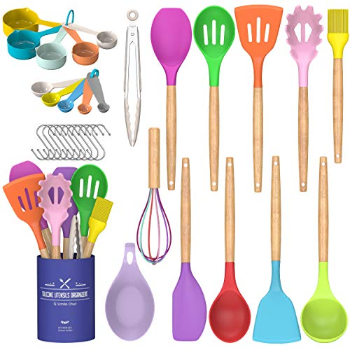Umite Chef Kitchen Cooking Utensils Set, 33 pcs Non-stick Silicone Cooking Kitchen Utensils Spatula Set with Holder, Wooden Handle Silicone Kitchen Gadgets Utensil Set (Colorful)