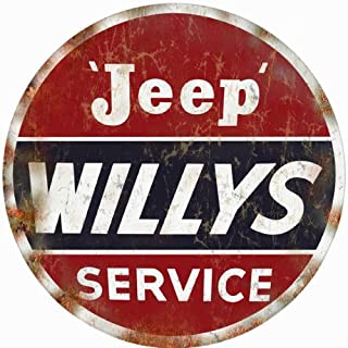 Reproduction Jeep Willys Service Station Gas and Motor Oil Round Sign