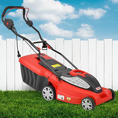 HECHT Premium Rasenmäher Elektro Elektro Mäher mit 1.600 Watt Turbo Motor - 38 cm Schnittbreite, zentrale 5-Fach Schnitthöheneinstellung, 45 Liter Fangkorb für einen schön Rasen, Elektro-rasenmäher
