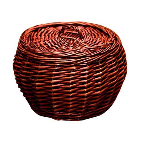 Cesto de la ropa Cestos de almacenaje Caja de almacenamiento cesta de almacenamiento negrita tejida mimbre con tapa Cestas Organizador Contenedores for la cocina 10.2x7.4x8.2 En cestas para guardar ro