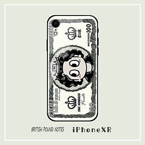 SWE Fun Sterling Paper Geld Geel Glas Telefoonhoesje Compatibel met IPhone 11, Reflecterende Gehard Spiegel Textuur Ultradunne TPU Zwarte Rand Schokbestendige Hoezen AA++++++
