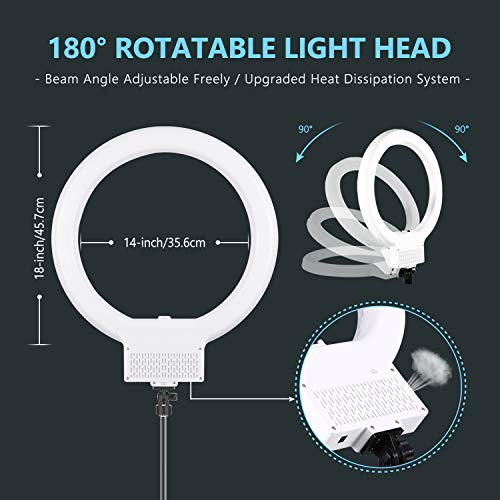 Neewer 18-inch White LED Ring Light with Light Stand Lighting Kit Dimmable 42W 3200-5600K with Soft Filter, Hot Shoe Adapter, Cellphone Holder for Make-up Video Shooting (NO Carrying Bag)