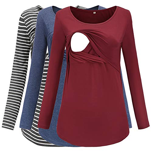 Jezero Women's Long Sleeve Nursing Tops Round Neck Breastfeeding Tunic 3-Pack