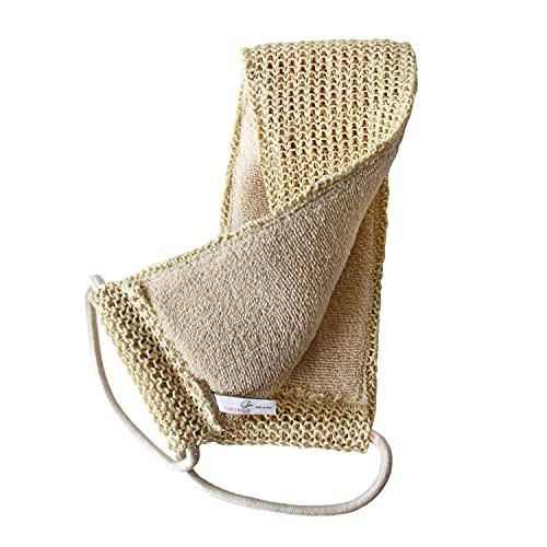 Cintura massaggiante a 2 lati - scrubber per la schiena per doccia e bagno, massaggio della schiena e massaggio a secco - sisal biologico e cotone