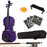 Mendini Solid Wood Violin with Hard Case, Bow, Rosin and Extra Strings (1/4, Purple)