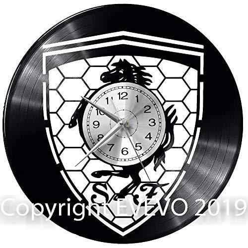 WoD Ferrari Wanduhr, aus Vinyl, Quarzwerk, leises Uhrwerk, handgemacht, kreatives Uhr, dekorativ, Wanduhr, Mechanical Art Decor Vinylscheibe