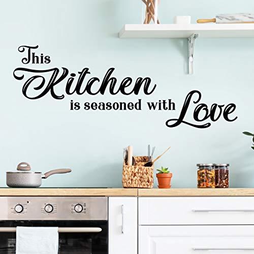 Adhesivo decorativo para pared con texto en inglés 'Kitchen sazoned with love'