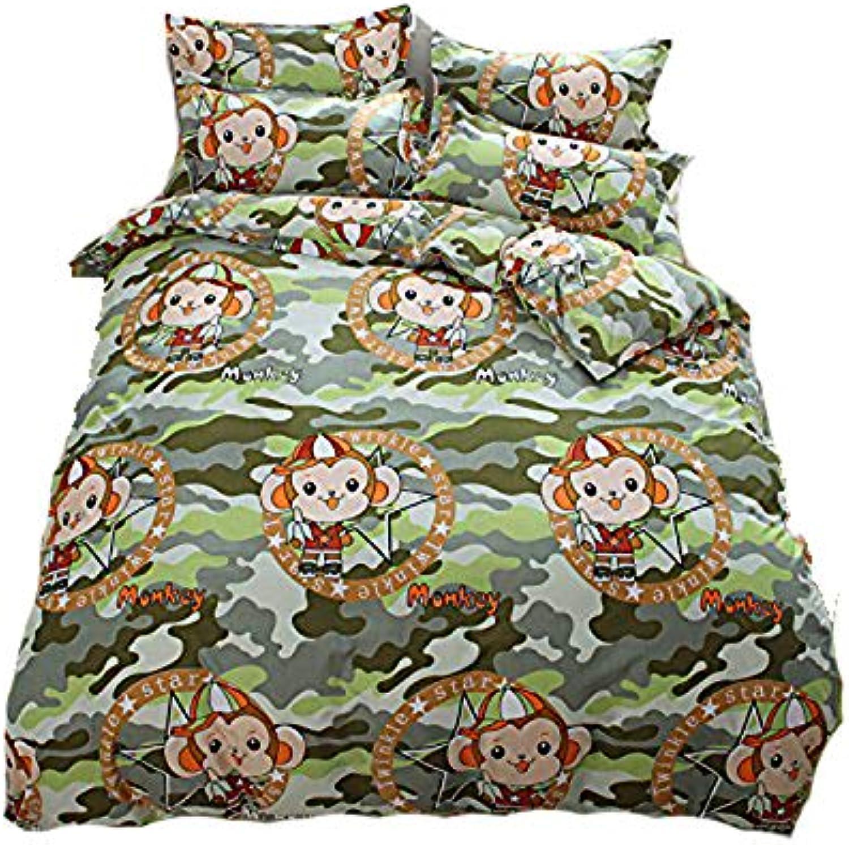 Kids Adult Bedding Sets 4pcs Set Bedsheet Duvet Cover Pillow Cases Twin Full Queen Size HM Forest Monkey Design (Full, Forest Monkey)