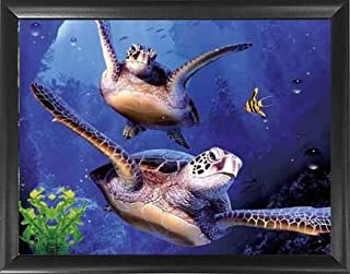 Mount Plus 3D Lenticular Picture - Unbelievable Life Like 3D Art Image, Animated Posters, Cool Art Deco, Unique Wall Art Decor, with Dozens to Choose from (3D Turtle)