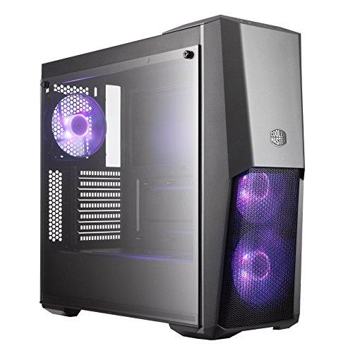Cooler Master MasterBox MB500 RGB -Case PC ATX con Pannello Half Mesh, 3 x120mm Ventole Premontate, Pannello Laterale in Vetro, Configurazioni Flessibili Airflow -RGB