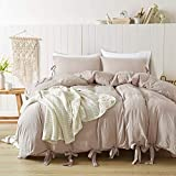 annadaif Duvet Cover Twin(66x90 Inch), 2 Pieces Khaki(Pinkish Under Warm Light) Ultra Soft Washed Cotton Bowknot Bow Tie Duvet Cover Set, Easy Care Bedding Set for Men, Women