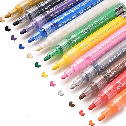 Acrylstifte Marker Stifte, Set mit 12 Farben Acrylfarben Marker auf Wasserfest für Holz, Steine, Leinwand, Metall, Kunststoff, Keramik, Glasmalerei, Stoffmalerei, Rock-Malerei & DIY (12 Farben)