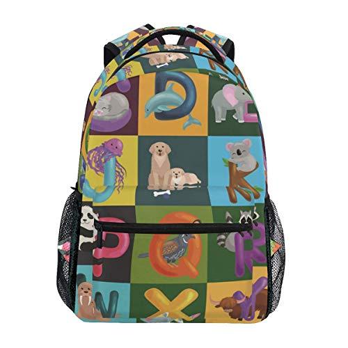 Animals Alphabet Set Kids ABC Education in Preschool Backpacks Travel Laptop Daypack School Bags for Teens Men Women